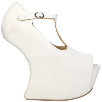 View Item Cream T-Bar Sculpted Peeptoe Curve Wedge